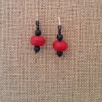 Coral & Onyx Earrings
