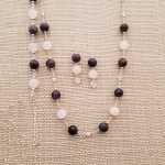Amethyst & Rose Quartz Necklace Set with Bracelet