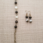 Moonstone & Smoky Quartz Braclet & Earrings Set