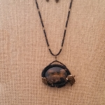 Petrified Wood pendant & earrings