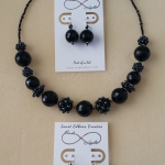 Black Onyx Beaded Beads Necklace & Earrings